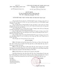 Quyết định bổ nhiệm lại chức danh Phó Giám đốc Học viện Y - Dược học cổ truyền Việt Nam