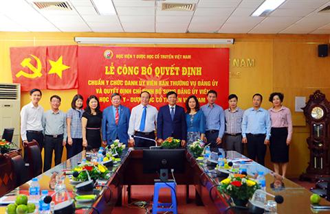 Lễ công bố Quyết định Chuẩn y chức danh Ủy viên Ban Thường vụ Đảng ủy và Quyết định chỉ định bổ sung Đảng ủy viên BCH Đảng bộ Học viện Y Dược học cổ truyền Việt Nam