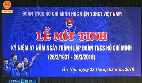 Học viện Y Dược học cổ truyền Việt Nam tổ chức lễ kỉ niệm 87 năm ngày thành lập Đoàn TNCSHCM (26/3/1931 – 26/3/2018)